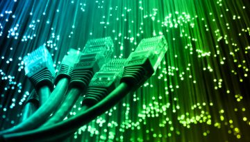 Network cable with Fiber optics light internet concept