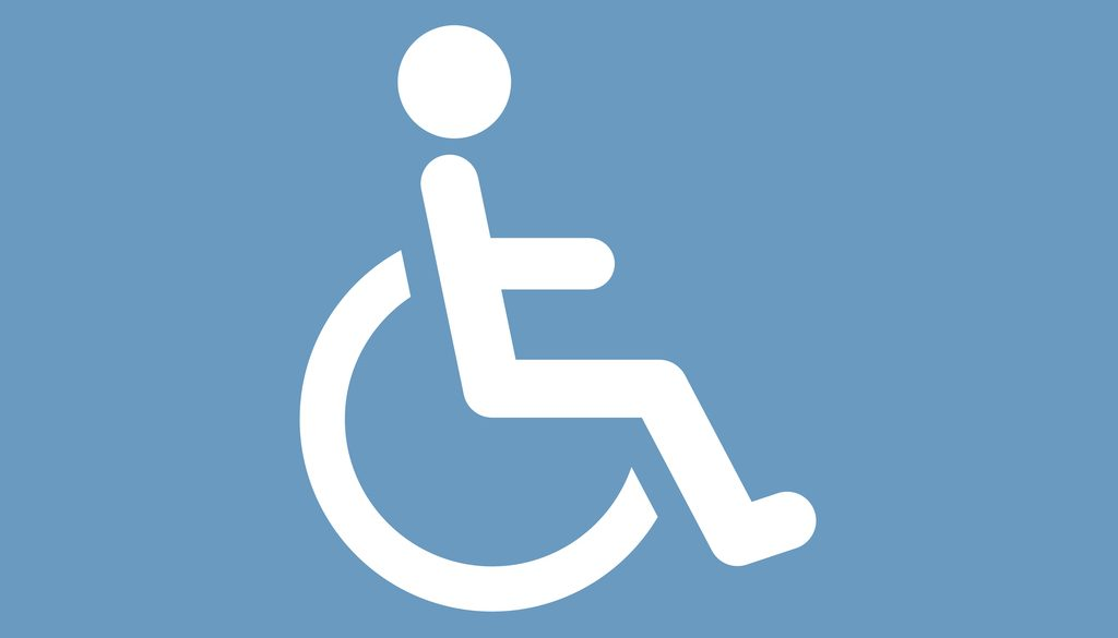 cripple icon, white on the blue background