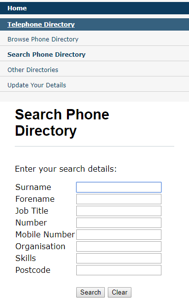 Intranet Phone Directory