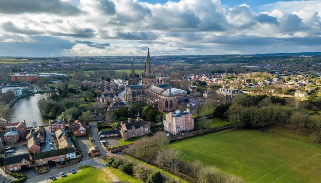 Aerial view over the City of Lichfield